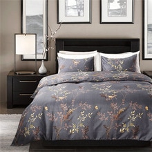 Style moderne couleur grise ensemble de literie King Size bronzant fleur et oiseaux motif housse de couette ensemble exquis luxe maison Textiles