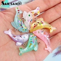 10pcs colorful resin small dolphin pendant charms toys children novel for diy necklace pendant small jewelry material