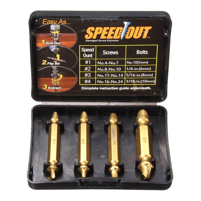 Extractor de tornillos dañados de doble cara con revestimiento de titanio de 4 Uds juego de guías de broca Extractor de tornillos de velocidad rota
