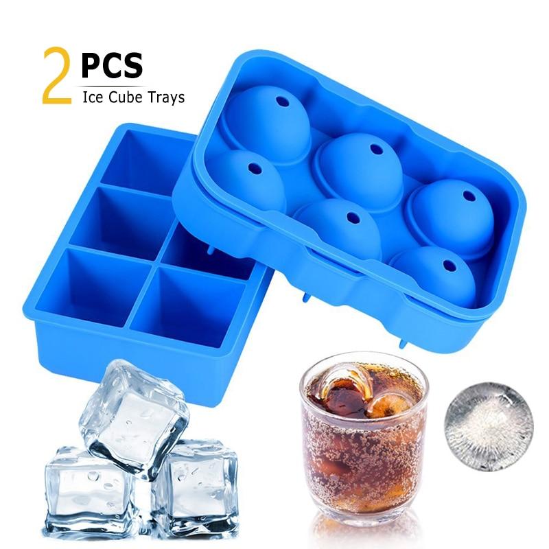 2 piezas de silicona para hacer cubitos de hielo grandes bandejas de cubo de hielo molde de Chocolate esfera cuadrada de whisky molde de hielo accesorios de cocina bar