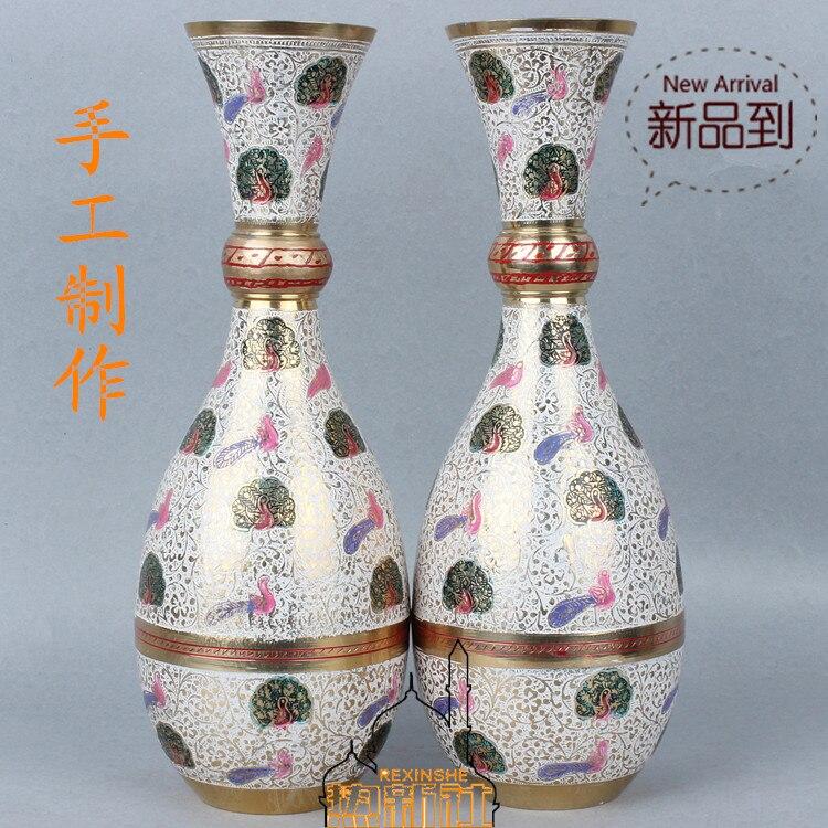 Vaso de Cobre Vaso de 32 cm de Altura Índia Importados Bronze Branco Pavão Ornamentos Mobiliário Doméstico Presente Floral