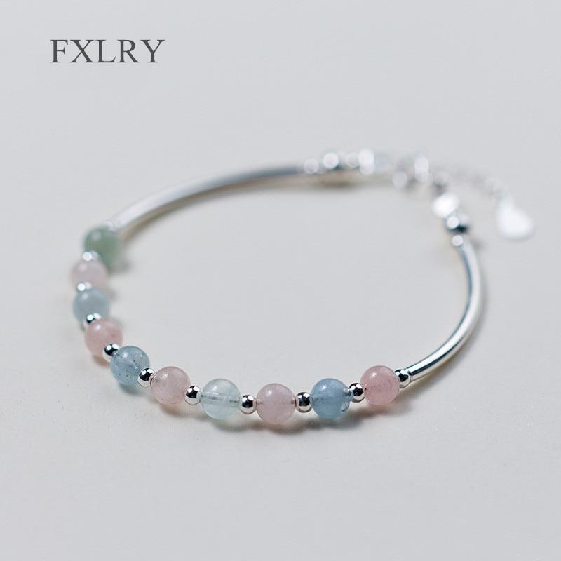 FXLRY nuevo plata color Multicolor naturaleza piedra morganita pulsera y cuentas de la suerte Color caramelo pulsera para mujer joyería