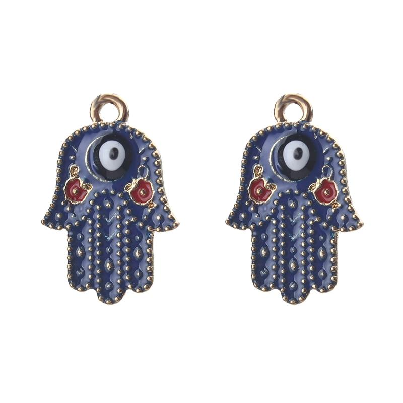 2 unids/lote/azul oscuro de la mano de Hamsa mal de ojo encantos en relieve colgante, collar, pulsera, hecho a mano accesorios de fabricación de la joyería
