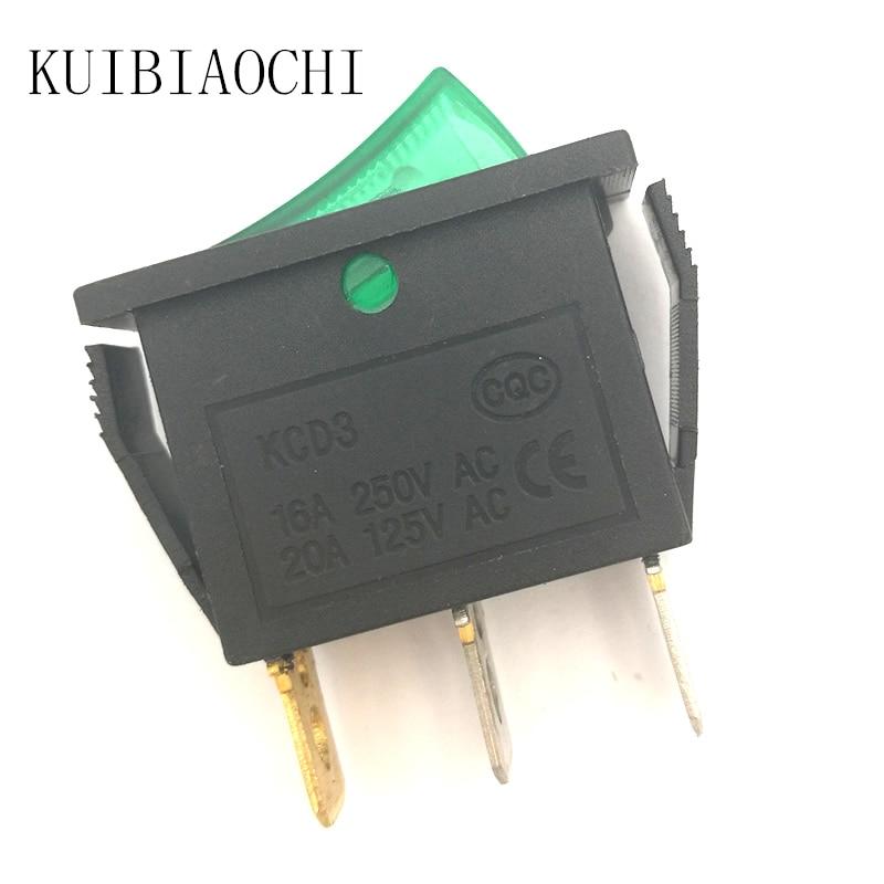 5 pçs/lote Barco Car Rocker Switch Verde Botão ON/OFF 3 PIN 16A 250 V AC/20A 125 V AC SPST com 12 V AC LED Green Light 13.6*30mm