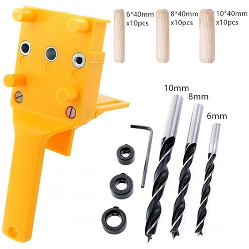6/8/10mm agujero de bolsillo Jig Kit auto-centrado ABS plástico pasador herramienta de guía de taladro alto brocas para carpintería de acero de velocidad