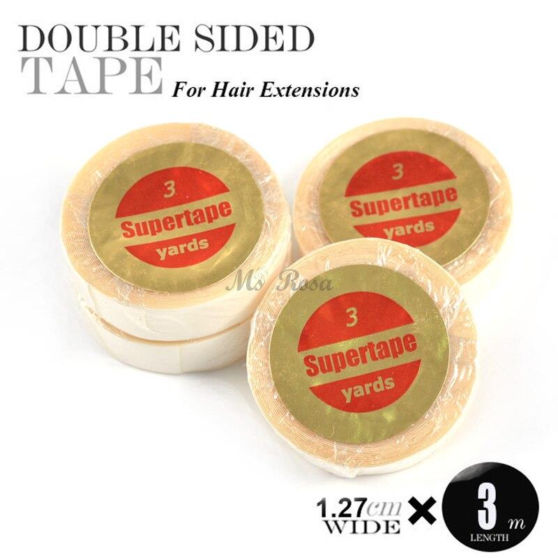 12 Uds Supertape adhesivo doble cara tupé cinta pelo 3 yardas médico desensitización Cinta Azul piel trama cinta para extensiones de cabello