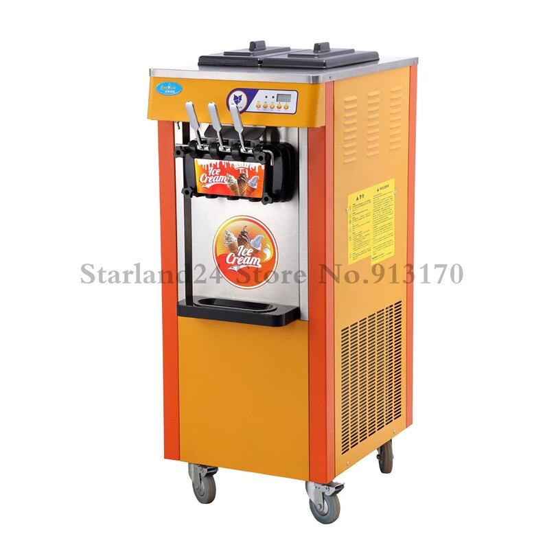 Máquina de Helado Suave comercial 3 Sabor Yogur helado Suave Servir Máquina de Cono 220 V con Sistema de Control Digital