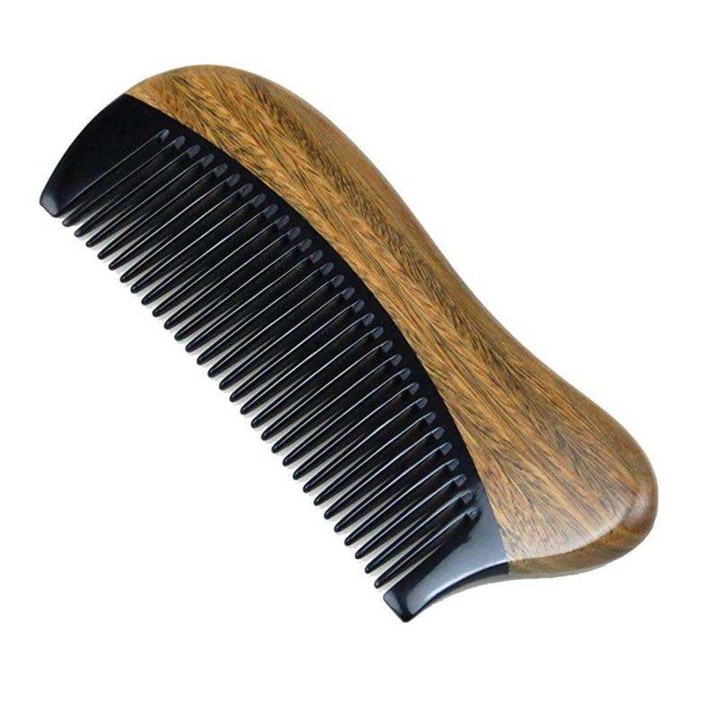 natural shen guibao wood buffalo horn exquisite thick long handle wooden comb coarse teeth hair massage no static combs Natural Green Sandalwood Hair Comb - No Static Wooden Fine Tooth Black Buffalo Horn Comb (Green sandalwood)
