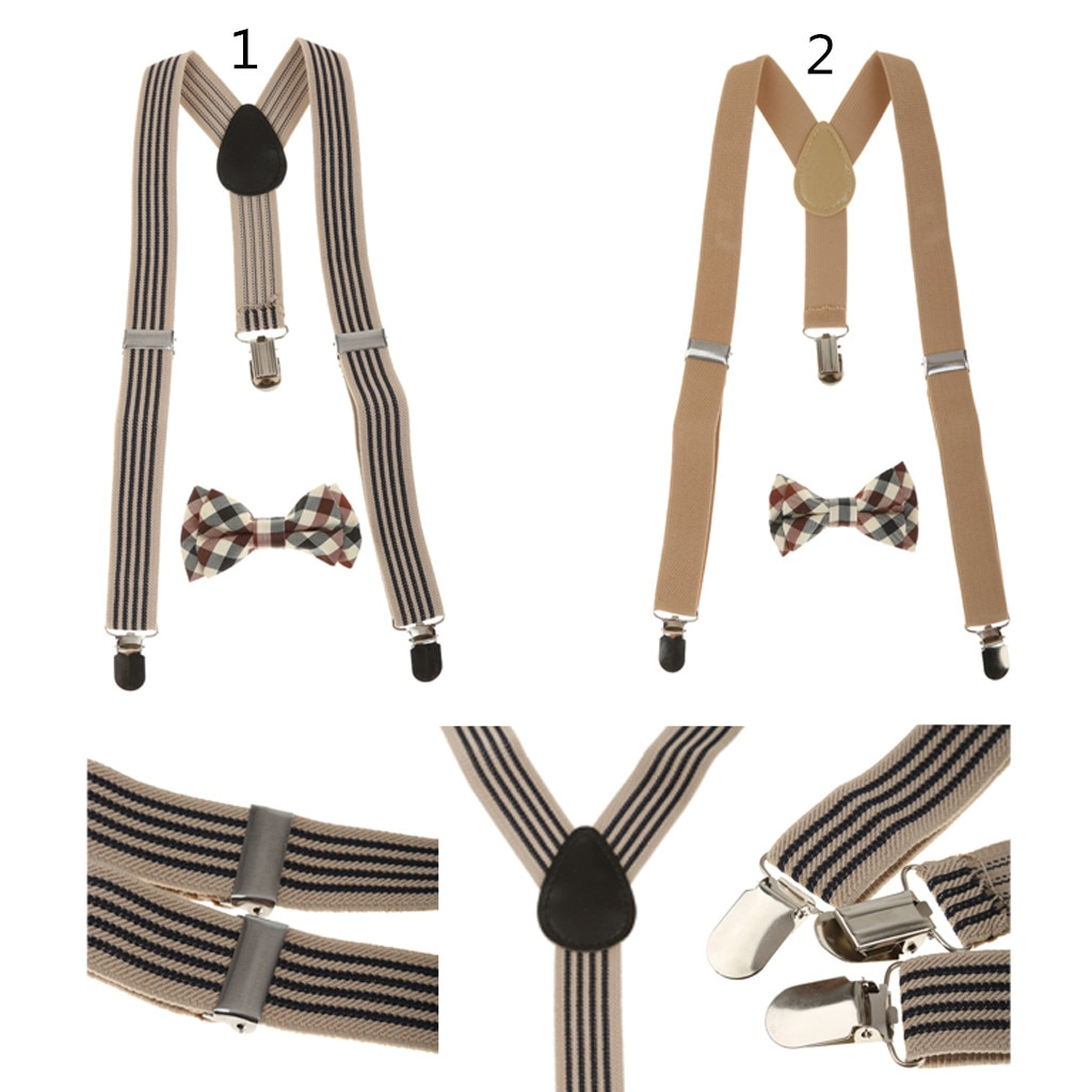 Kids Children Boy Girl Plaid Necktie Adjustable Y-back Suspender Set for Trousers Jeans Shorts Fashion Accessory