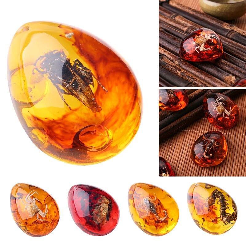 1 шт. модные натуральные насекомые Янтарное украшение из драгоценного камня оригинальность скорпионы бабочка пчела краб украшения DIY поделки подарок