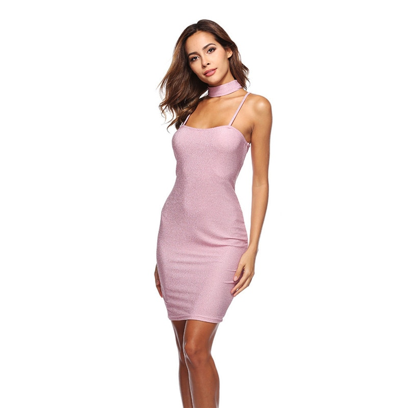 Mini vestido Sexy de mujer con tirantes finos nuevo vestido de moda Paquete de caderas Vestidos sólidos de Verano Halter Robe Hiver Vestidos Verano
