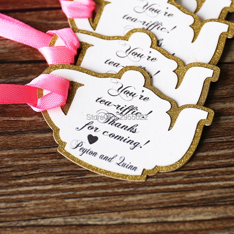 Etiquetas de recuerdo de fiesta de té, etiquetas de regalo personalizadas de tetera, etiquetas de regalo doradas brillantes, etiquetas de recuerdo de boda cortadas con láser, etiquetas de recuerdo de baby shower