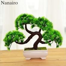 Welcoming Pine Emulate Bonsai Simulation Tree Decorative Artificial Flowers Fake Green Pot plastic Plants Ornaments Home Decor