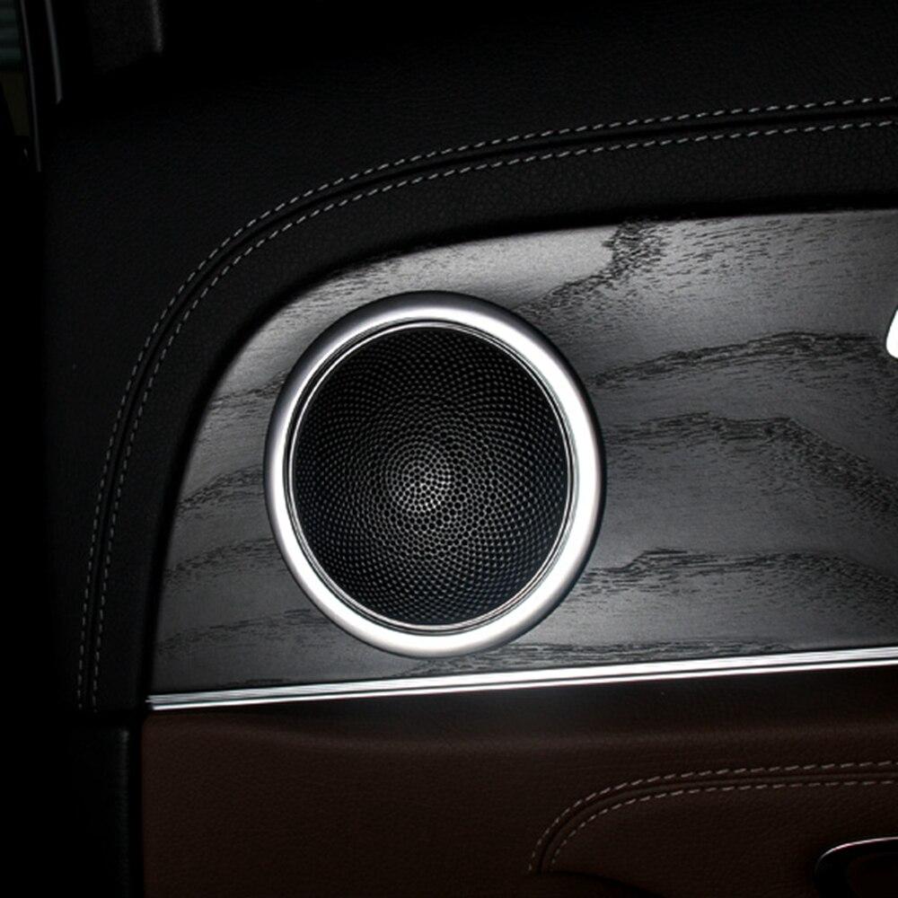MONTFORD para Mercedes Benz Clase E W213 E200 E300 E400 2016 2017 ABS mate Audio altavoz de la puerta del coche altavoz Trim Ring Covers