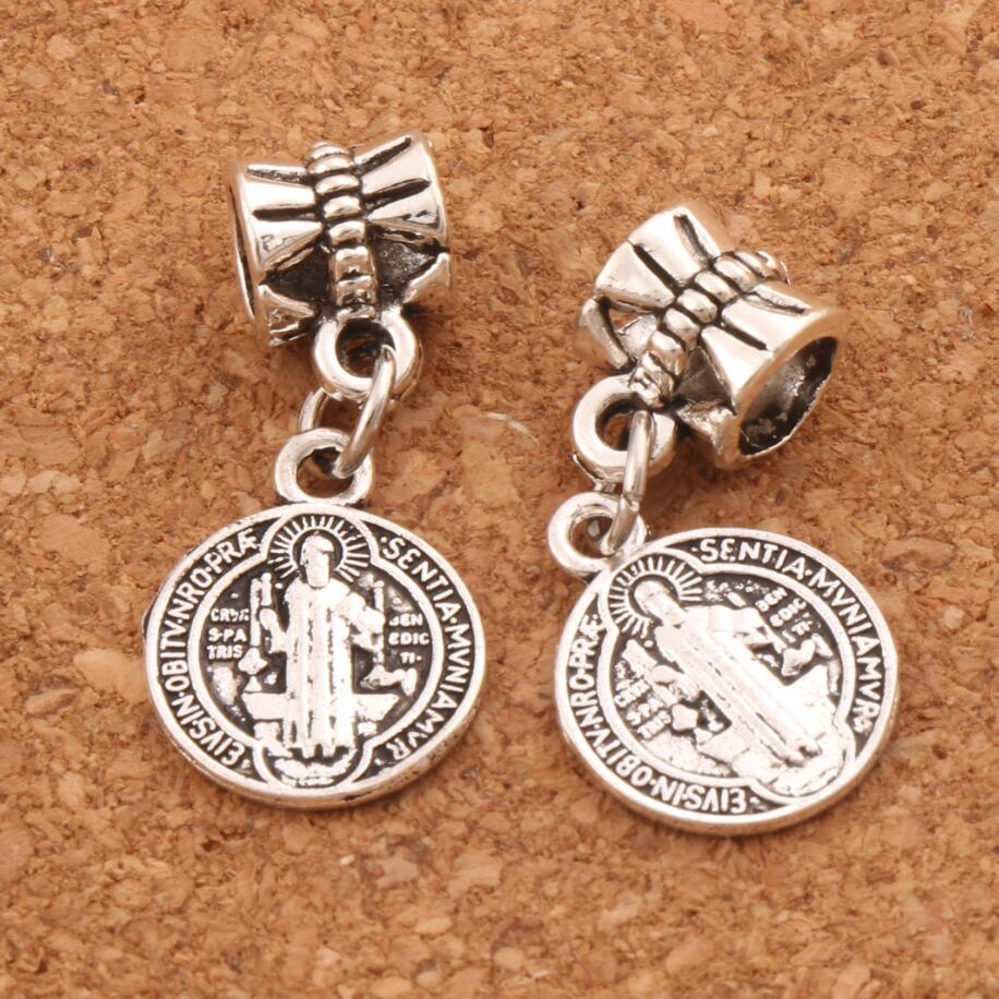 27pcs 24.9x11.8mm Saint Benedict Medal Cross Smqlivb Charm Beads Dangle Fit European Bracelets Jewelry DIY B1691