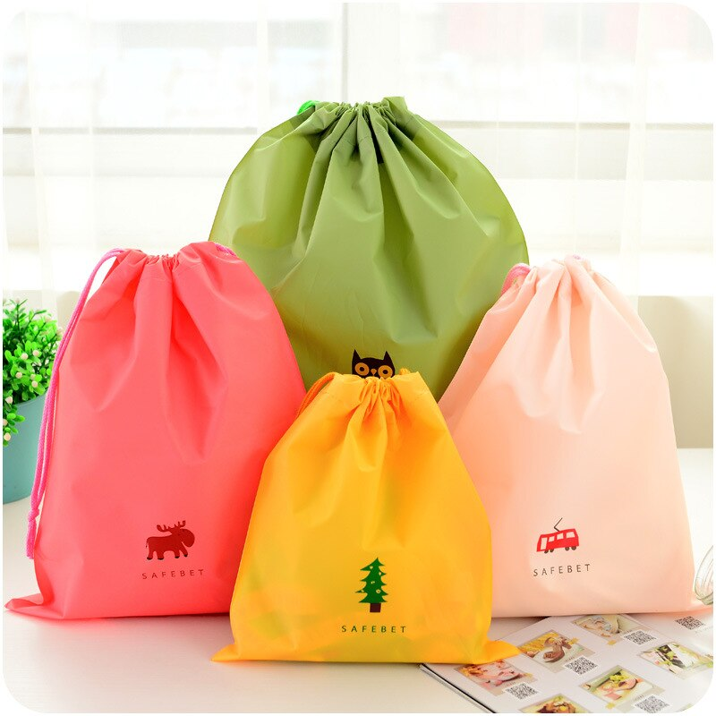 Waterproof Drawstring Bag Wash Pouch Cartoon Travel Luggage Bags Clothes Storage Shoe Organizer Pock