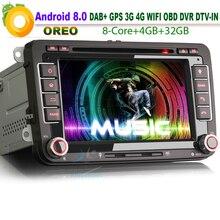 "7"" Android 8.0 DAB+ CD Head Unit GPS Sat Navi Autoradio Radio SD DVR WiFi RDS BT DVD DTV-IN USB Car Stereo for VW Caddy"
