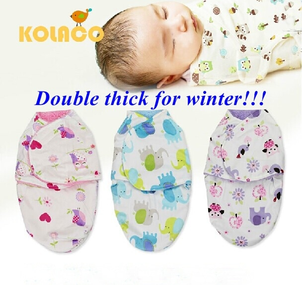 Free Shipping Double Layer Coral Fleece Newborn Sleeping Bag baby Swaddle Candle Bag Holds Blankets