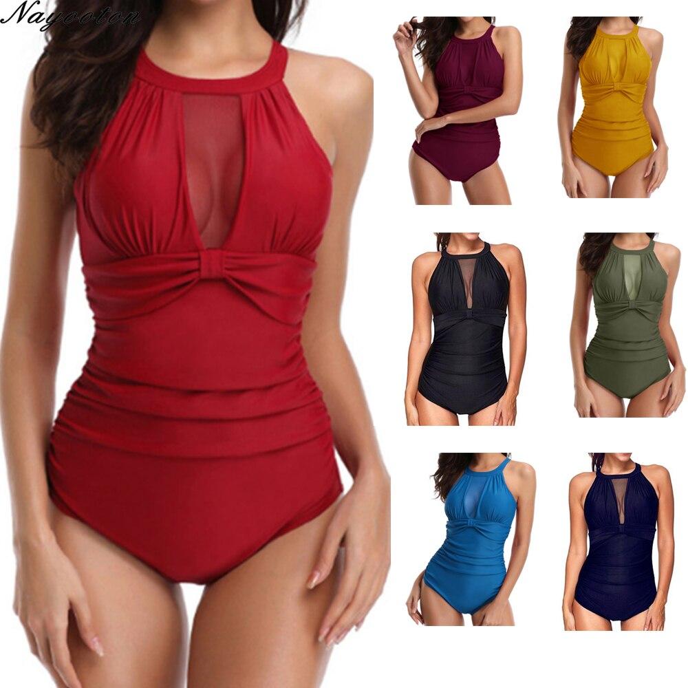 plus scallop trim tank bodysuit Sexy Retro one-piece swimsuit Tank Heart solid swimwear bodysuit monokini women's plus size swimsuit slim waist bathing suit