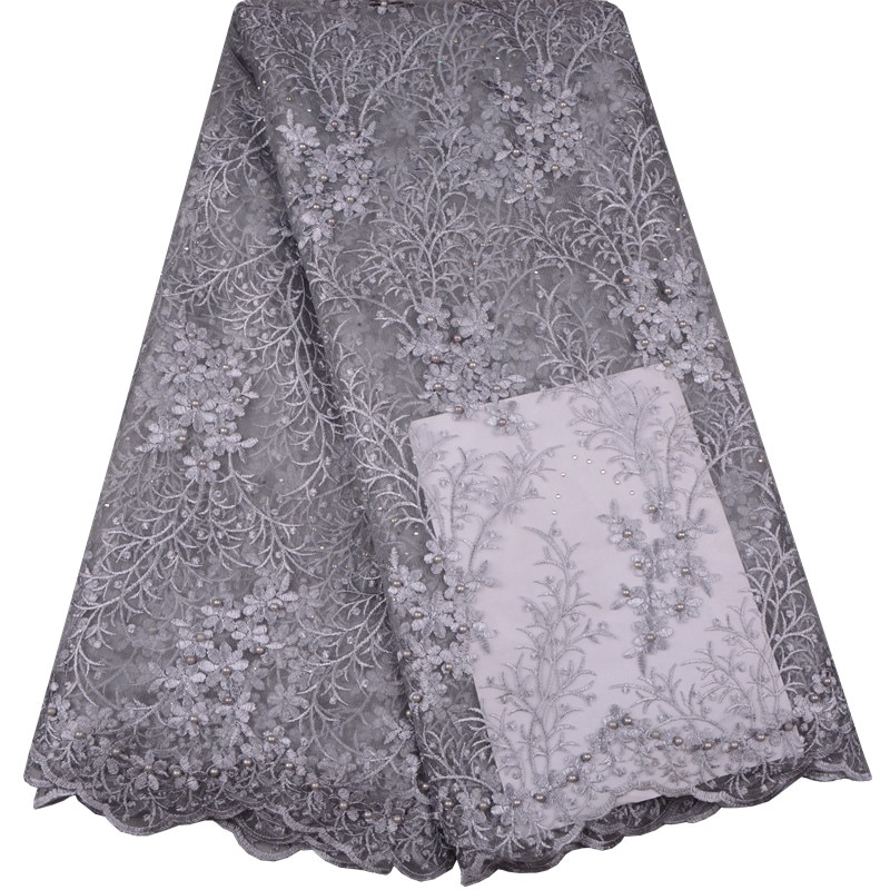 2017 envío gratis cuentas de piedras encaje de alta calidad tul africano tela de encaje recién llegado telas de encaje Nigeriano para la boda 969