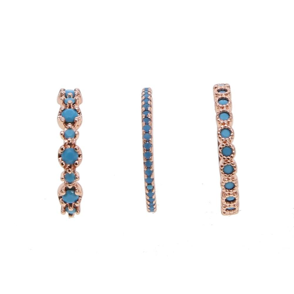 Anillo delicado Delgado, piedras azules, zirconia cúbica, joyería de compromiso, anillo de apilamiento de banda para mujeres Eternity para boda, anillo midi de 3 piezas