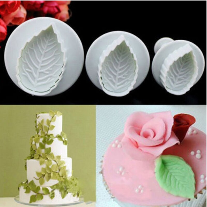 Doatry 3 unids/set, cortador de galletas de hojas de rosa, Fondant, artesanía de azúcar, émbolo, molde decorativo para pasteles, herramientas para hornear