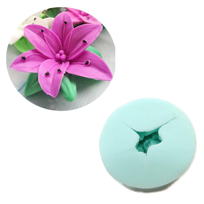 Moldes de Casamento Moldes de Sabão de Silicone Moldes de Pedra Lily Molde Silicone Flor Vela Aroma Hc0021 3d