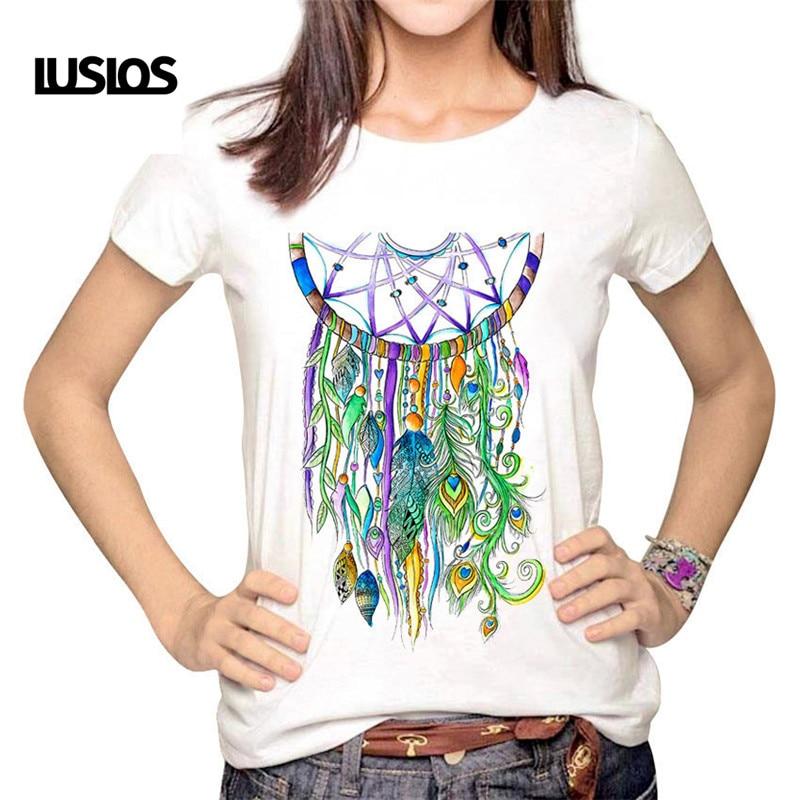 LUSLOS Dreamcatcher Indian Dream Catcher Lucky Net Print Women Female Tshirt Magic Summer Short Sleeve T Shirts Casual White Top