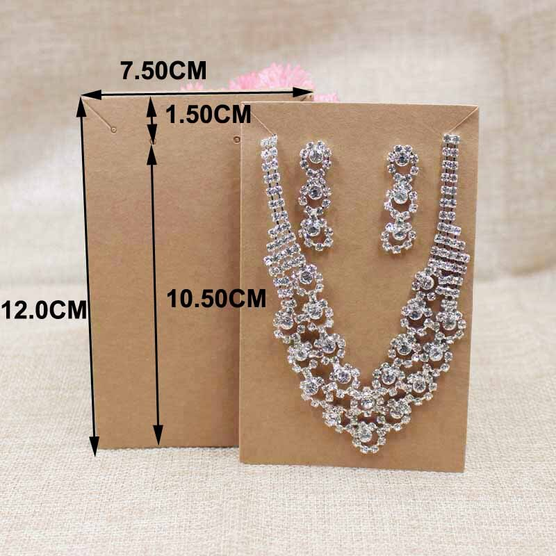 200 pz grande collana con lorecchino set imballaggio tag carta marrone/kraft cartone collana set display carta tag personalizzato costo extra