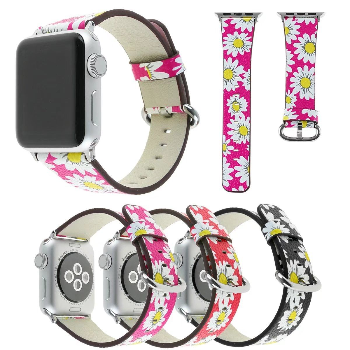 Кожаный ремешок для Apple Watch Series 3 2 1 Широкие ремешки 38 мм 42 мм часы с цветочным рисунком ремень для iWatch браслет