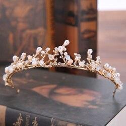 Винтажные золотые тиары ручной работы для невесты, жемчужные стразы, Свадебные короны принцессы, свадебные украшения для волос, свадебные аксессуары