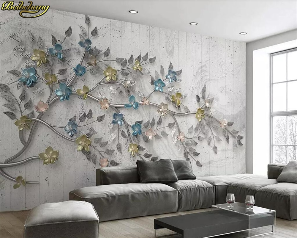 beibehang Custom 3d photo wallpaper 3D backdrop of modern minimalist bedroom den wall stereoscopic relief tree space
