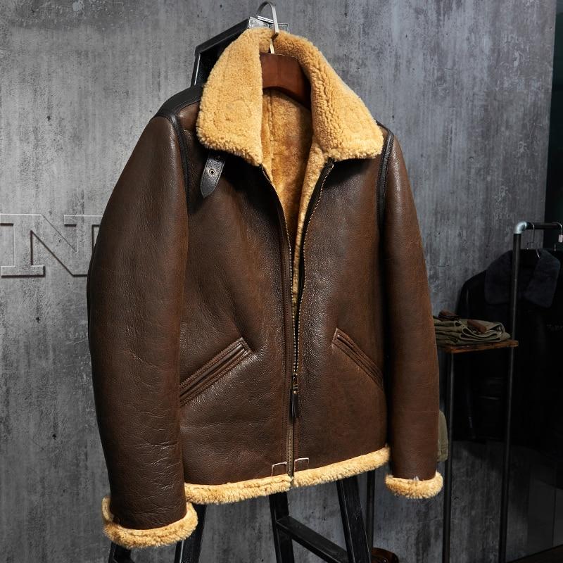 سترة جلدية للرجال ، معطف من الفرو ، صناعة الطيران ، B3 ، WZS009