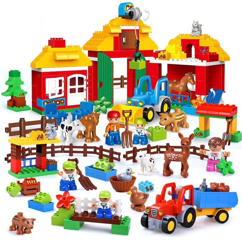Happy Farm  Zoo With Mini Animals Figures Large Particles Building Blocks Compatible Duploe City DIY Big Bricks Kids Child Toys