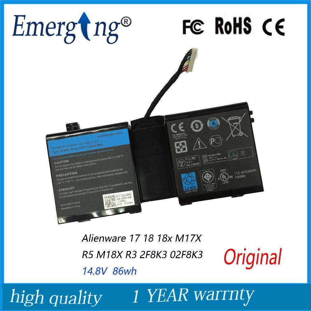 14,8 V 86WH новый оригинальный аккумулятор для ноутбука DELL Alienware 17 18 18x M17X R5 M18X R3 2F8K3 02F8K3