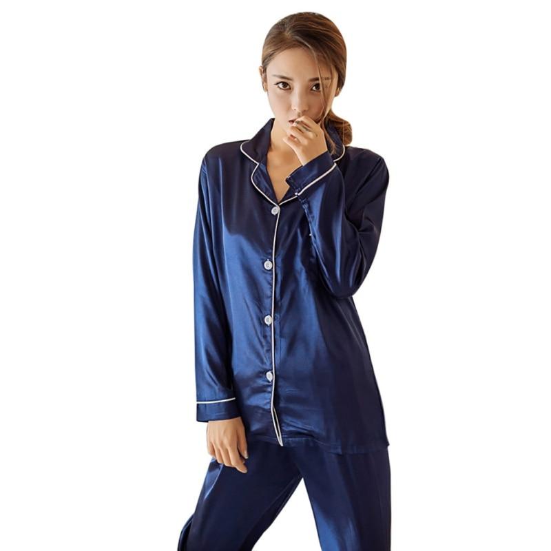 Sexy Silk Satin Pajamas Set Women Long Sleeve Sleepwear Pajamas Suit Female Two Piece Sleepwear Nightwear P4 NN2