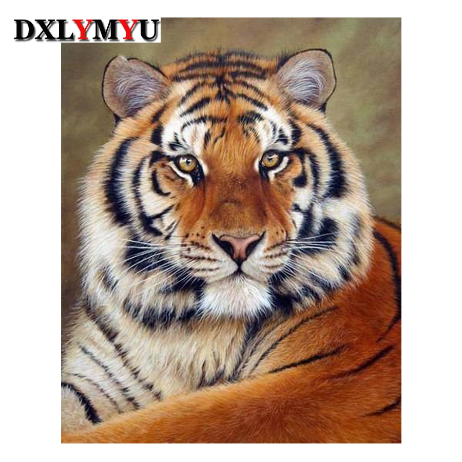 5D Diy Diamond Painting Cross Stitch Full Diamond Embroidery Tiger Picture 3D Diamond Mosaic Crafts Resin Rhinestone Pasted