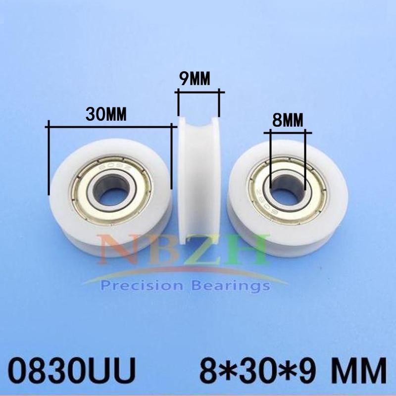 Diameter 30mm, thickness 9mm, bearing inner 8mm ,nylon roller, sliding window or door pulley groove U   10pcs/lot