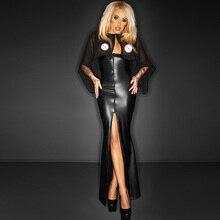 Robe longue en maille transparente Cape Wetlook vinyle cuir Clubwear gothique noir fendu moulante robes Club robes de soirée Robe