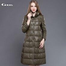 Gours 여성을위한 정품 가죽 오리 코트 그린 양모 매우 긴 오버 코트 겨울 따뜻한 파카 새로운 도착 플러스 사이즈 5xl