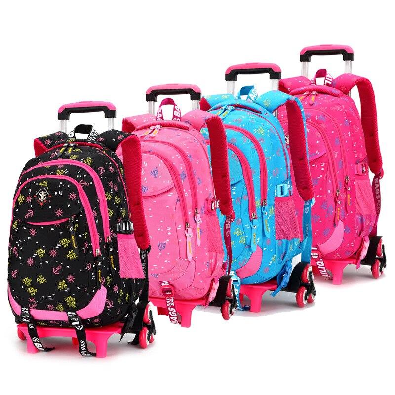 Mochilas escolares para niños, mochila con carro con ruedas Triple, mochila de escuela con ruedas, bolsa para niñas, equipaje de viaje, mochilas escolares con ruedas, bolsas para libros
