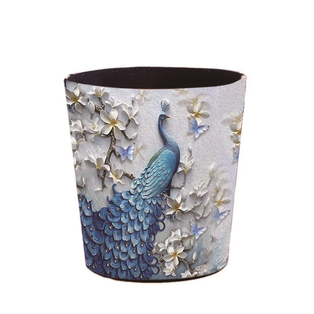5.5L/7L/10L su geçirmez deri çöp kutusu çöp konteyneri çöp kutusu çöp kovası ofis kağıdı sepeti ev mavi tavuskuşu