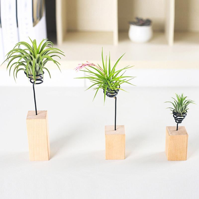 Soporte de madera para base de piña de aire, maceta para flores, soporte de flores, accesorios de micropaisajismo, alambre de hierro