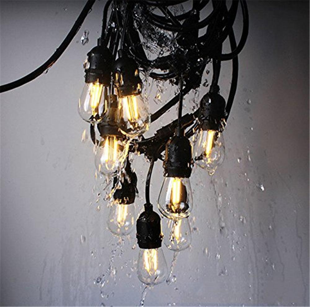 7M 15M Outdoor LED String Lights Waterproof E26 E27 S14 2W LED Retro Edison Filament Bulb Street Garden Patio Holiday Lighting