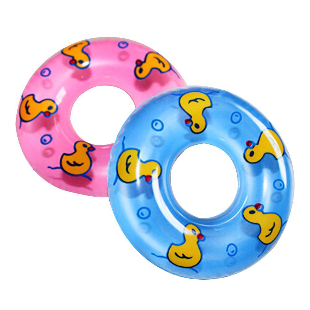 2 шт детская игрушка для ванны надувное кольцо для плавания игрушка пластиковая мини круг для плавания подарок для детей (розовый и синий)