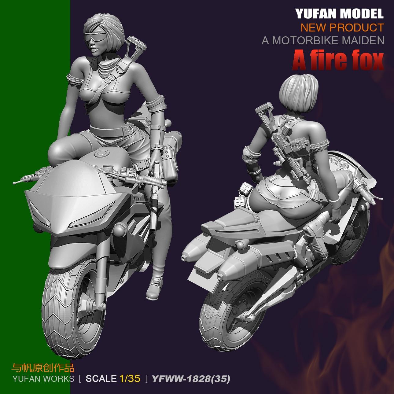YuFan modelo y vela original 1/35 bicicleta eléctrica mujeres shooter resina soldados YFWW35-1828 KNL Hobby