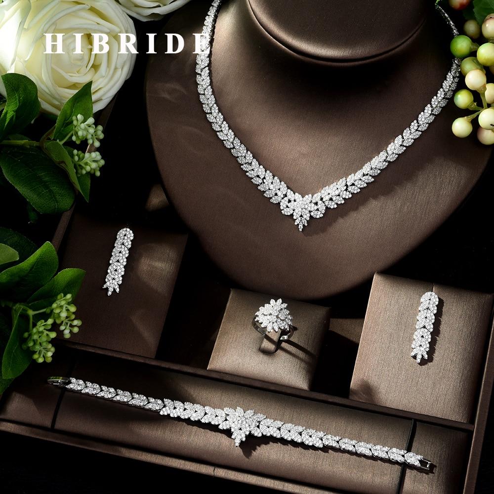 HIBRIDE خمر الزركون مجموعة مجوهرات الساطع مكعب حجر كبير الزفاف الزفاف و الذكرى 4 قطعة قلادة مجموعة مجوهرات N-178