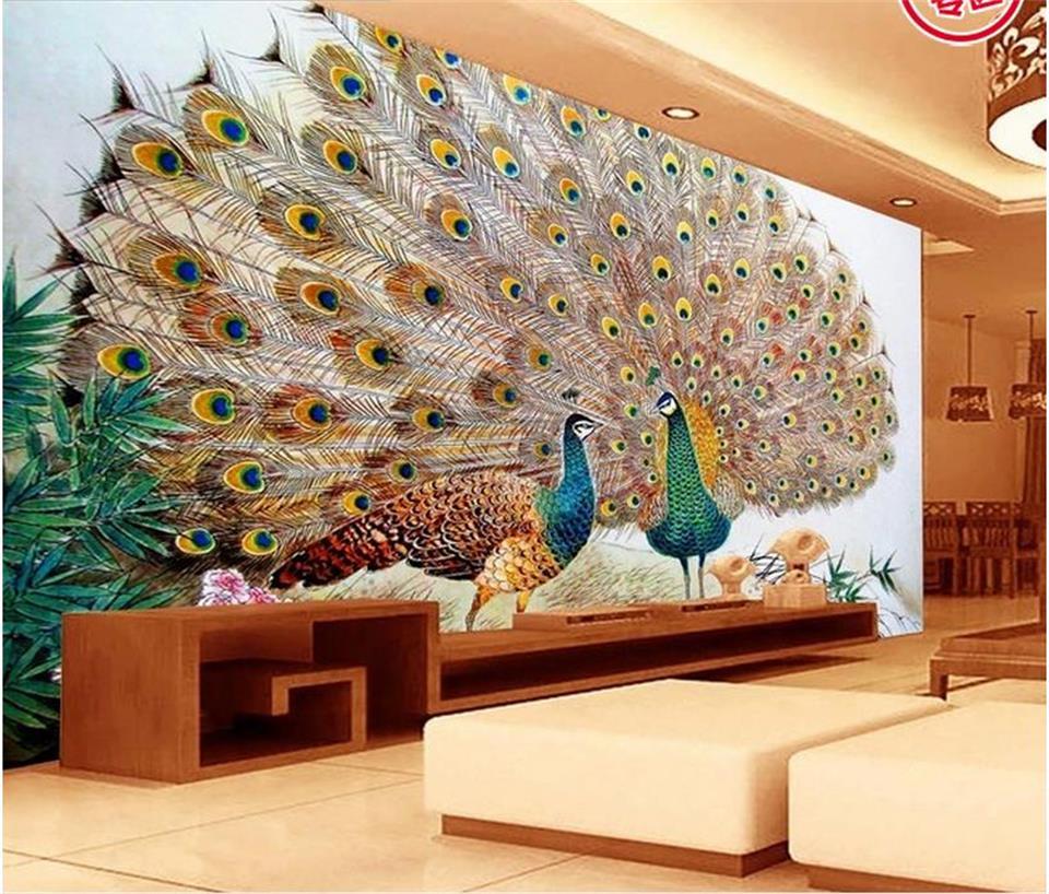 Papel pintado con foto 3d mural personalizado para sala de estar dos Pavo Real imagen abierta sofá Adhesivo de pared de fondo TV papel tapiz para pared 3d