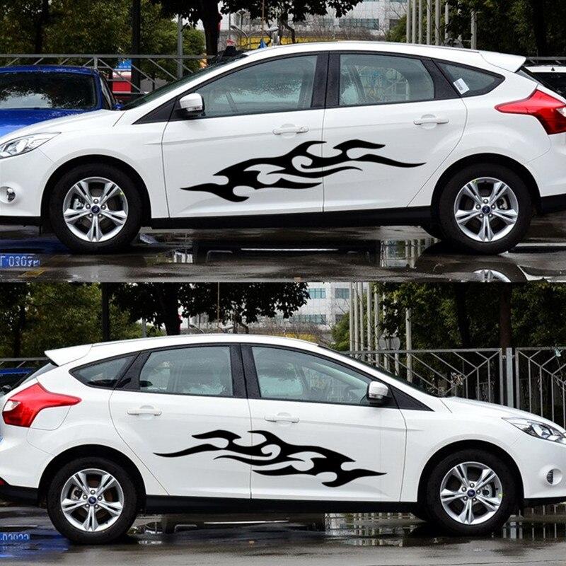 Adesivos de carro 2 pçs chamas chama fogo criativo decalques para portas à prova dwaterproof água ajuste automático estilo duad 100cm 140cm d22