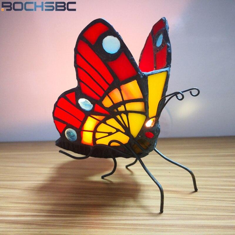BOCHSBC Tiffany mariposa vitral vela titular dormitorio noche luz cabecera Tealight soporte hogar Deco atmósfera iluminación